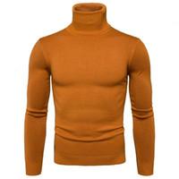 Moda-Ter Suéter para hombre Fashiion Solid Turtlenck Suéteres Hombres Casual Slim Fit Manga Larga Hecho Punto Suéter Elástico