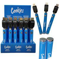 Cookies Twist Vape Carts Battery 900mAh Variable Voltage E Cigarette Bottom Spinner Preheat Batteries Thick Oil Vaporizer Pen with Retail Case