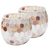 Adil Mumluk Centerpiece, Mozaik Cam Tealight Sahipleri Ev Dekorasyonu, Masa, Noel Partisi Süslemeleri, 2 Set