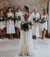 Simple Boho Wedding Dress Backless 2022 Robe Longue Vintage Lace Chiffon Long Bride Dresses Full Sleeve Deep V-Neck Beach Country Bridal Gowns