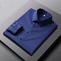 Мужские повседневные рубашки Parklees 2021 сплошной эластичность сплошной атласной для мужчин с длинным рукавом стройная не железная рубашка офисная деловая платье CamiSas 14Color