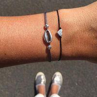Perlé, Strands 2pcs / Set personnalité Chaîne de corde Vintage Abalone Mini Charme Bracelets Bracelets Bracelets pour femmes Bohemian Shell Bracelet