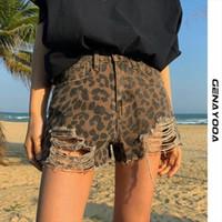 Jean verão casual calça jeans mulheres curtas feminino leopardo alta cintura sexy mini denim