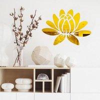 Wall Stickers 3D Lotus TV Background Art Mural Decor Mirror Flower Sticker DIY Bathroom Home Decorations