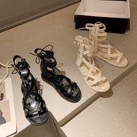 Sandals Buckle Strap Female Sandal 2021 Summer Sale Of Women's Shoes Strappy Heels Girls Flat Clear Gladiator Beige Low Fashion Com