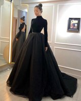High Collar Modern Evening Dresses Long Sleeves Backless Sexy Prom Dress Sweep Train A Line Tulle Bride Robe De Soiree