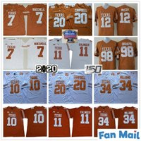 NCAA 150th Texas Longhorns College 11 Sam Ehlinger 7 Shane Buechele 10 Vince Young 20 Earl Campbell 34 Ricky Williams Orange White Jersey