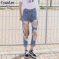 Jeans pour femmes Cyanlee Solide Fashion Femmes Hole Casual Taille High Taille Denim Skinny Pantalon coréen