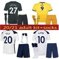 20 21 Dele Filho Tottenham Bale Kane Soccer Jersey Hojbjerg 2020 2021 Lucas Futebol Camisas Uniformes Homens + Kids Socks Kit