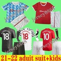 2021 Pogba Manchester Fernandes Cavani Utd Rashford Soccer Jersey Kids Man Kit Camisa de Fútbol 20 21 22 Equipo Adulto Traje Niños + Calcetines