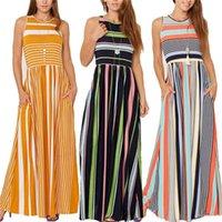 Casual Dresses Women Sleevess Striped Print Dress High Waist O-Neck Maxi With Pockets Woman Boho Vestidos Largos S-2XL Roupas Feminina