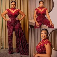 African Burgundy Sequins Lace Jumpsuit Evening Dresses Wear High Collar Sheer Long Sleeve Prom Dress with Slid Train Pant Suit
