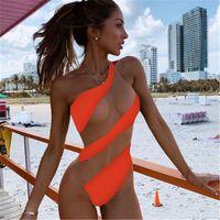 مثير النسائية ملابس السباحة الأزياء الاتجاه واحد الكتف بلون مغاير اللون شريط قطعة واحدة البيكينيات ملابس السباحة الإناث جديد شبكة شاطئ سيامي ملابس السباحة