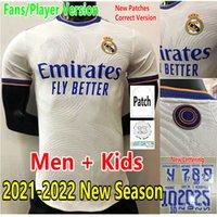Version du joueur 2021 2022 Real Madrid Soccer Jerseys Hommes Femme Camiseta Sergio Ramos Benzema Asensio Valverde Femmes Maillot Hazard Vini JR Kroos Football Shirt