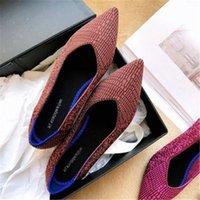 Zapatos planos de la boca ocasional ocasional para mujer Zapatos de ballet de punto inferior suave transpirable Camuflaje embarazada 35 40 zapatillas de deporte Zapatillas de cubierta en línea F E9GJ #