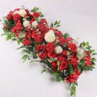 Decorative Flowers 100CM DIY Wedding Flower Wall Arrangement Supplies Silk Peonies Rose Artificial Row Decor Iron Arch Backdrop FY2991
