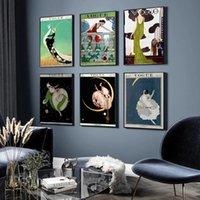 ملصقات الحائط خمر ملصق الشمال الحديثة الفن رواج غطاء مجلة اللوحة أزياء صور ديكور المنزل