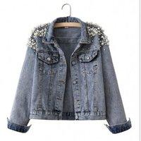 2021 spring autumn new European Women's Clothing jacket beautiful beaded short casual loose slim denim jackets top