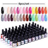 Ur Zucker 6 stücke Gel Nagellack Set 80 Farbserie UV-Lacklack Nagelsatz für Nail Art desgin Maniküre Top- und Basismantel