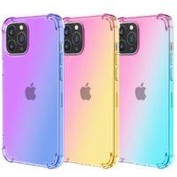 Gradiente Dual Color Transparente TPU Choque Provavelmente Casos para iPhone 12 11 Pro Max XR XS 8 7 6 PLUS S21 S20 Note20 Ultra Choque-absorvente Canter Celular Capa de celular