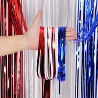 Party Decoration 4th Of July Independence Day Blue White Red Foil Tinsel Fringe Curtain Backdrop For Veterans Memorial Patriotic Decorations