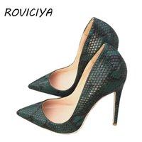 Yeşil Yüksek Topuk Ayakkabı Yılan Baskı Kadın Ayakkabı Pompaları Parti Düğün Ayakkabı Artı Boyutu 12 cm YG024 Roviciya 210226