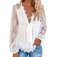 Women's T-Shirt Summer Women Tops Bowknot Embroidery Stitching Long Sleeve Elegant V-neck Sexy Lace Korean Fashion Shirts 2021