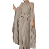 Party Dresses Muslim Arabic Dubai Kaftan Chiffon Pleats Formal Evening Dress Pearls Beaded High Neck Elegant A Line Caftan Prom Gown Bow