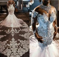 Other Wedding Dresses Plus Size Rhinestones Crystals Lace Beaded Long Sleeve Court Train South African Mermaid Dress