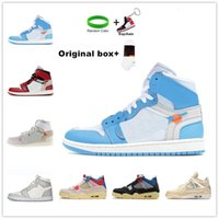 [Con scatola]Air Jordan 1 4 x Off-White shoes Jordans  jumpman OG scarpe da basket Barb High Top Ow Joint Chicago North Carolina Blu Shadow Shadow Blu Grigio Black Sneakers casual