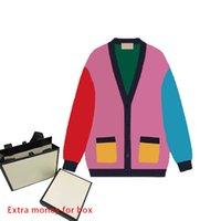 Осень мода женские вязаные вязаные V-образные вырезы с длинными рукавами напечатаны вязаный свитер кнопки карманные украшения зимняя одежда