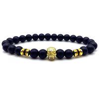Charm Bracelets Skull Bracelet Men Pave Cubic Zirconia 2021 Punk 8mm Handmade Matte Beads For Jewelry Gift