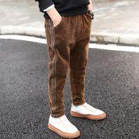 Новая мода ребёнок зимние брюки для 2-12Т лет детские кормулы брюки мальчики теплые толстые бархатные повседневные брюки детская одежда 210306