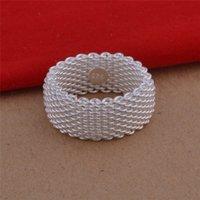 925 Sterling Silver Moda Jóias Net Jóias Anel de Jóias Woven Tecidos de Prata Jóias 216 T2