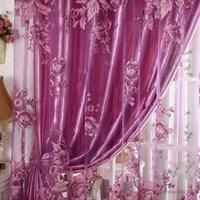 Vente chaude européenne 250 * 100 cm de motif pivoine voile onduleur pour la fenêtre de tulle, rideaux de rideaux de la pièce vivant rideau violet / café