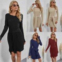 Повседневные платья осень вязаные мини женщины сплошной цвет с длинным рукавом круглые шеи ol элегантный высокая талия тонкий черный пакет бедра wy02