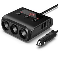 TR12 Car Cigarette Lighter Multi Socket Triple Splitter with Switch Voltage Display 4USB Charger Adapter 100W