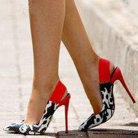 GOOFLORON Женские насосы обувь, супер высокие каблуки, разноцветные змеиные заостренные 12см сексуальные женские туфли 210608