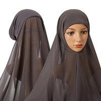 Шапка / черепные колпачки сплошной цветной шарф шарф мусульманская головка шифоновая шапка темперамент ретро тюрбан 1 шт. Длинные уникальные исламские обертки 2022