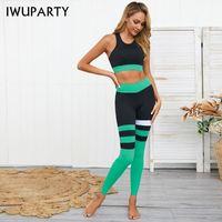 Iwuparty полоса шить два частей набор верхних брюк тренировочный тренажерный зал Одежда женщин сопоставление наборы депортива мойер фитнес спортивный носить 210316