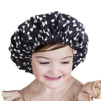 Kids Satin Bonnet Cute Adjustable Sleeping Cap Double Layered Reversible Hair Bonnets Silky Night Hat Infant Baby Hats 8 COlors