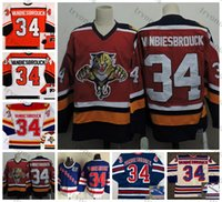Vintage 1991-1992 John Vanbiesbrouck Hockey Jerseys Florida Panthers Philadelphia Flyers New York Rangers 75e anniversaire Blue Couvert Jersey M-XXXL
