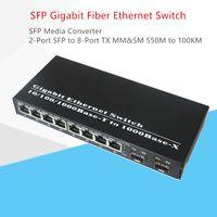Gigabit SFP Media Converter FIBRA Optica Switch 2-Port SFP-Slot auf 8-Port-TX RJ-45-Anschluss SFP Fiber Optic Transceiver Switch