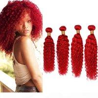 Tiefe rote brasilianische tiefe Welle webt menschliche Haarbündel rote Farbe Jungfrau Haarverlängerungen Reine rote tiefe Welle lockiges menschliches Haar 4bundles viel