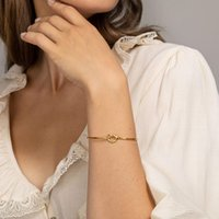 Rose Gold Color Twist Knot Love Cuff Bracelet for Women Simple Adjustable Size Open Wire Bangle Trendy Female Jewelry