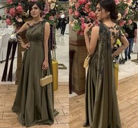 Olive-grüne indische Abendkleider mit Kap-Illusion-Langarm-Spitze-Perlen-Stickerei Chiffon-Muslim-Prom-Kleiderkleidung