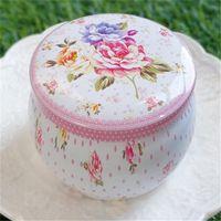 Çay Taşınabilir Davul Şeklinde Kalay Kutuları Çiçek Konteyner Kutular Şeker Çerez Kutusu Parti Hediyeleri Paketi OOD5366