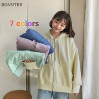 Women's Jackets Basic Women Harajuku Ulzzang Oversized Hooded Simple Candy Color Sweet Girls Outwear Stylish All-match Chic Teens Jacket
