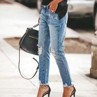 Women's Jeans Fashion Denim Hole Do Old Women 2021 High Waist Ripped Washed Skinny Pants Streetwear Long Pencil Ladies