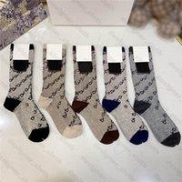 21ss Tasarımcılar Erkek Bayan Çorap Beş Lüks Spor Kış Örgü Mektubu Baskılı Markalar Pamuk Adam KUTUSU Setleri Ile Femal Çorap Hediye Için